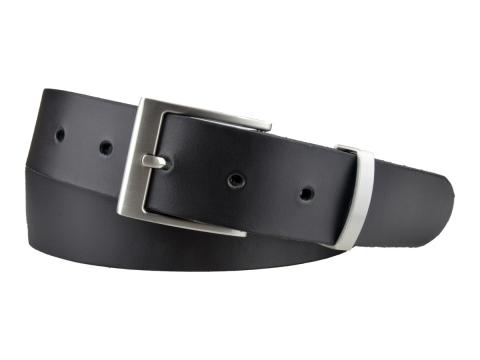 BULLJEANS35 N°7 | Ceinture noire boucle plate fine brossée 4