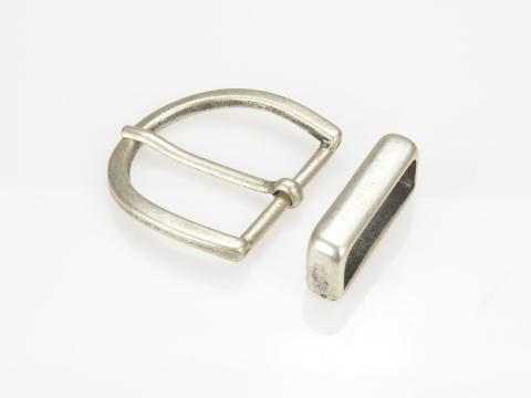 Boucle de ceinture 35 mm N°8 Ronde argent