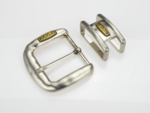 Boucle de ceinture 4 cm carré fine argent vieilli
