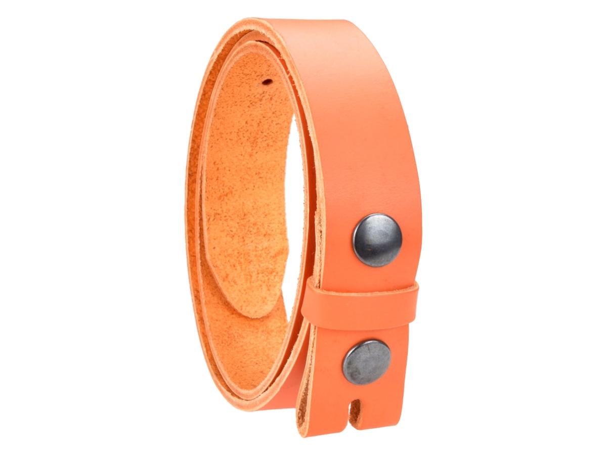 Ceinture sans boucle en cuir largeur 3 cm couleur orange