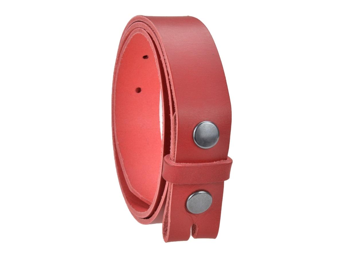 Ceinture sans boucle en cuir largeur 3 cm couleur rouge