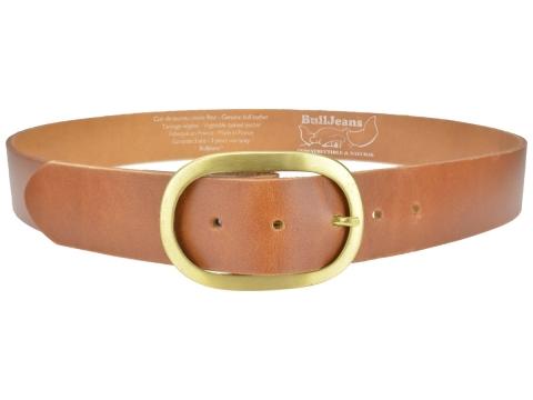 BULLJEANS40 Femme | N°9 Ceinture jeans couleur cognac boucle ovale laiton massif 4