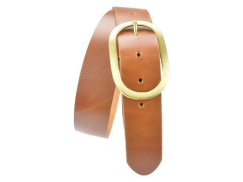 BULLJEANS40 Femme | N°9 Ceinture jeans couleur cognac boucle ovale laiton massif 5