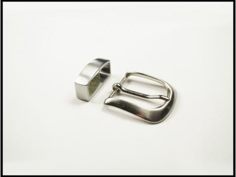 ceinture fine boucle ronde brossée