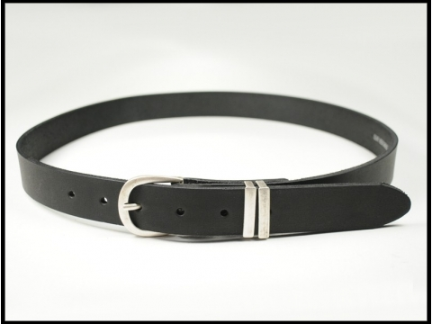 ceinture cuir noire boucle argent vieilli