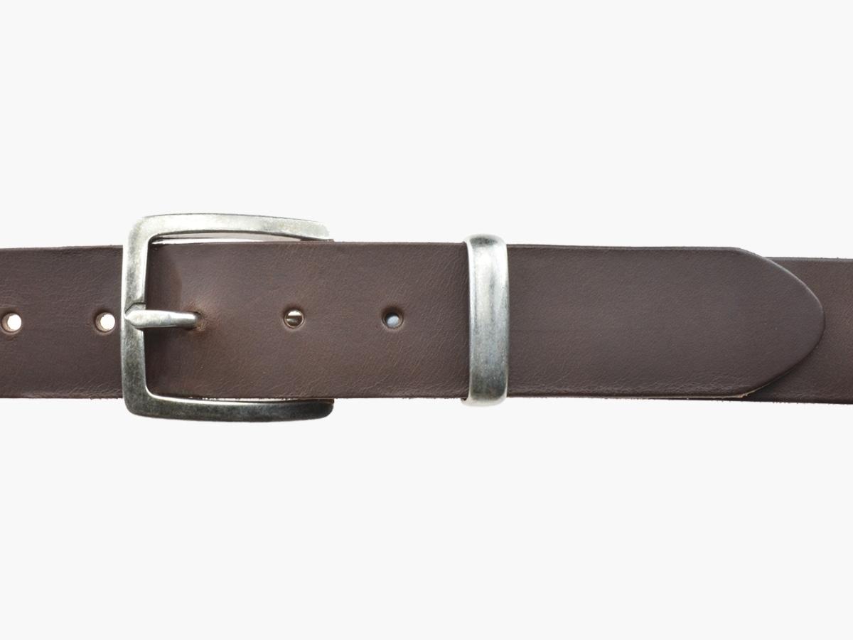 BULLJEANS N°01 | Ceinturon cuir couleur marron pour Homme boucle carré anthracite