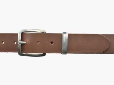 BULLJEANS N°01 | Ceinturon cuir couleur chataigne pour Homme boucle carré anthracite