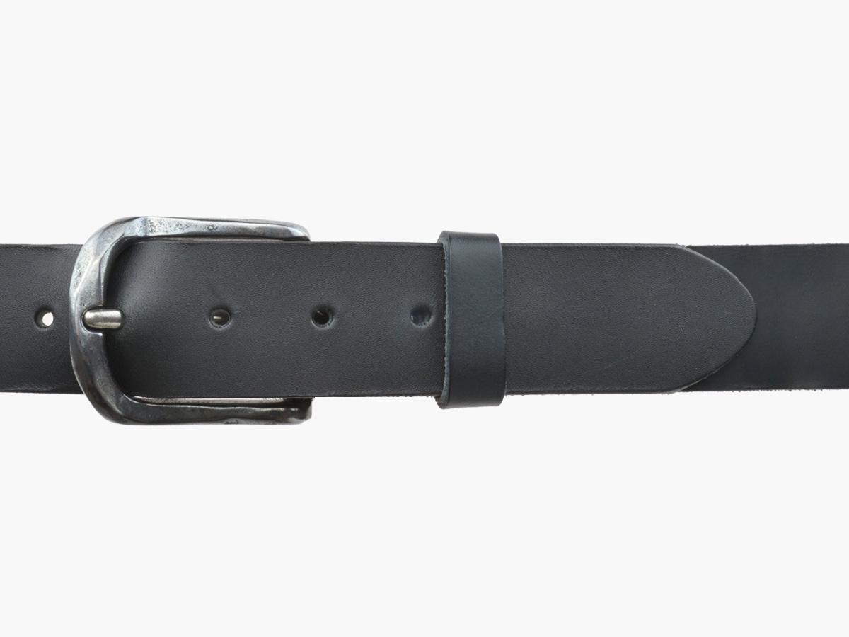 BULLJEANS N°02 | Ceinturon cuir noir pour Homme boucle ovale anthracite