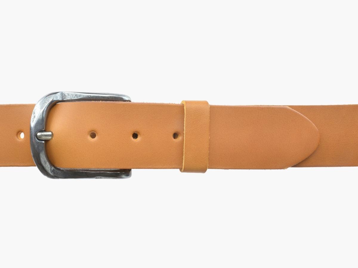 BULLJEANS N°02 | Ceinturon cuir couleur camel pour Homme boucle ovale anthracite