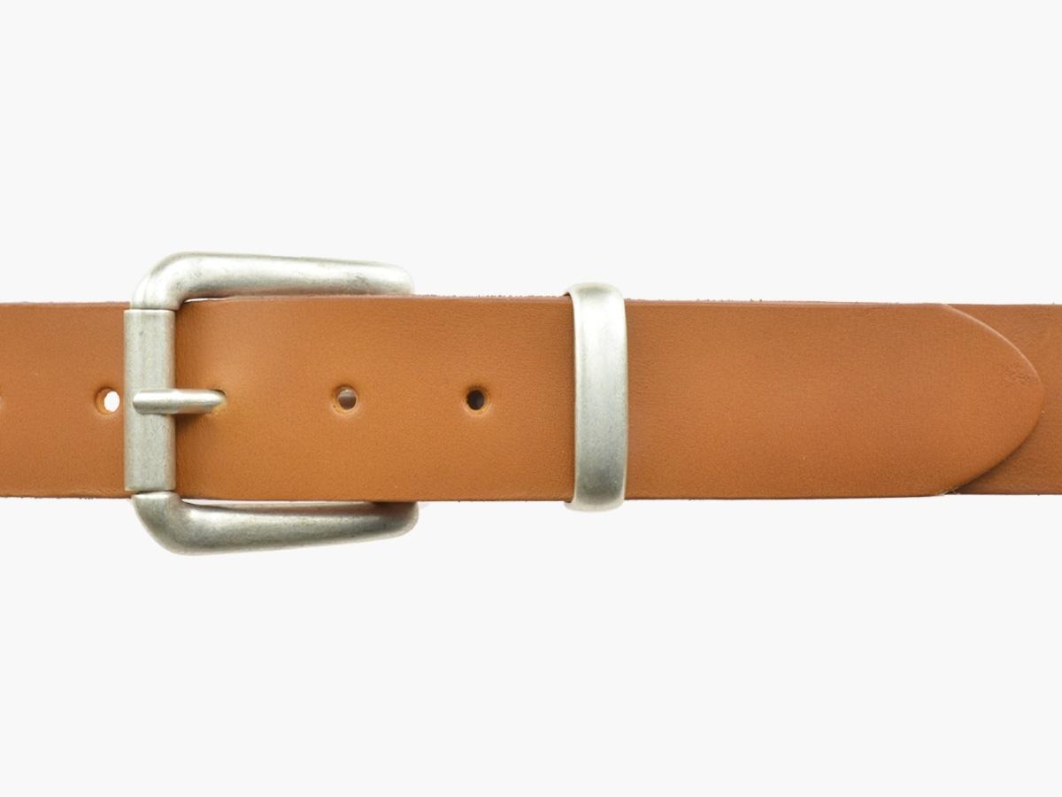 BULLJEANS N°03 | Ceinturon cuir couleur camel Homme boucle argent vieilli 3
