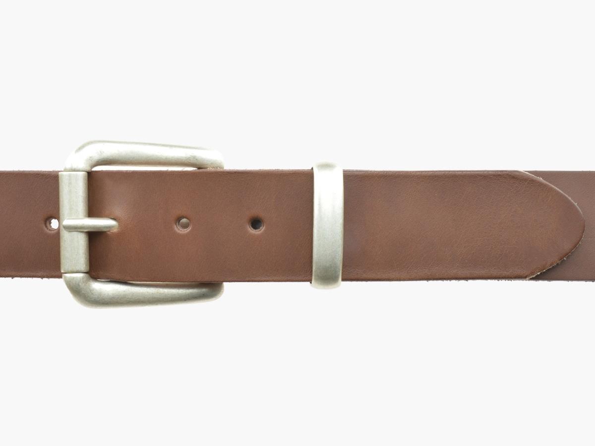 BULLJEANS N°03 | Ceinturon cuir couleur chataigne Homme boucle argent vieilli