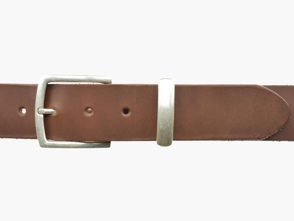 BULLJEANS N°04 | Ceinturon cuir couleur chataigne boucle fine et discrete