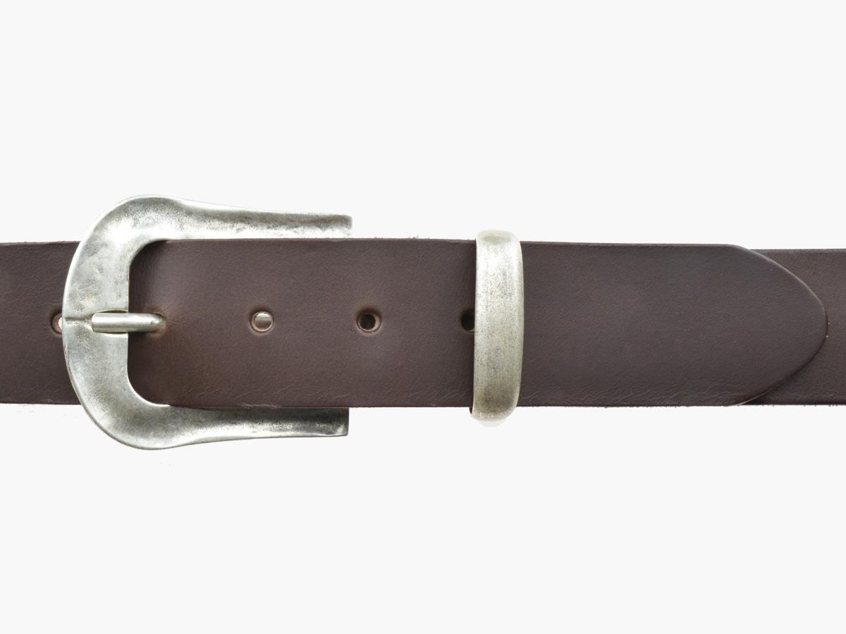 BULLJEANS N°05 | Ceinturon Western en cuir de couleur marron boucle finition argent