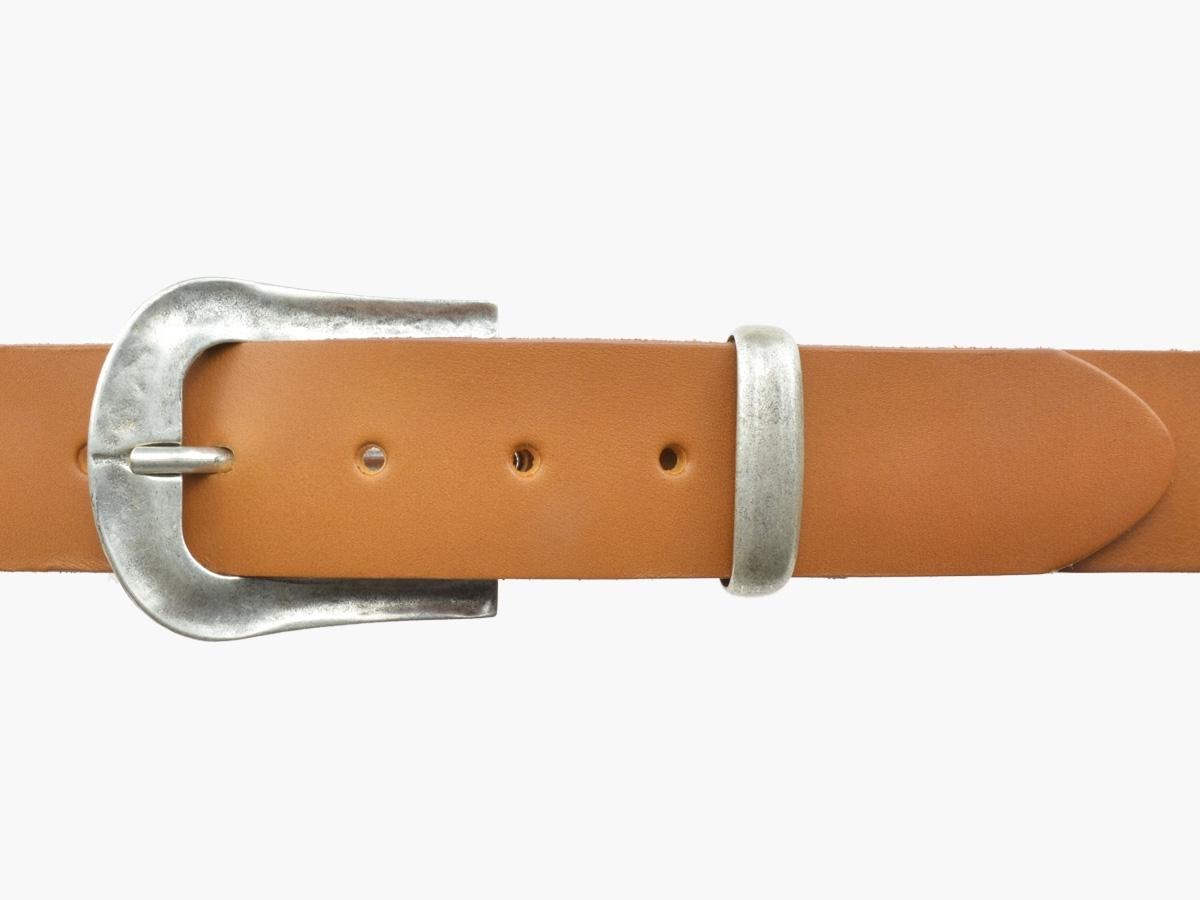 BULLJEANS N°05 | Ceinturon Western en cuir couleur camel boucle finition argent 2