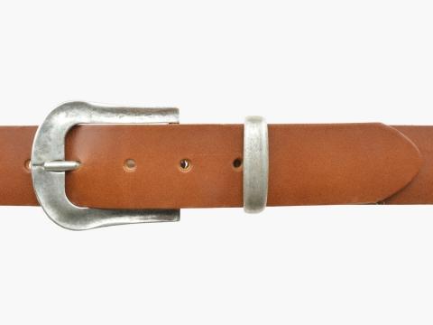 BULLJEANS N°05   Ceinturon Western en cuir couleur cognac boucle finition argent