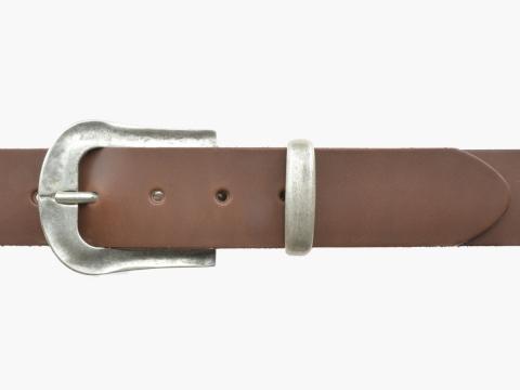 BULLJEANS N°05 | Ceinturon Western en cuir couleur chataigne boucle finition argent