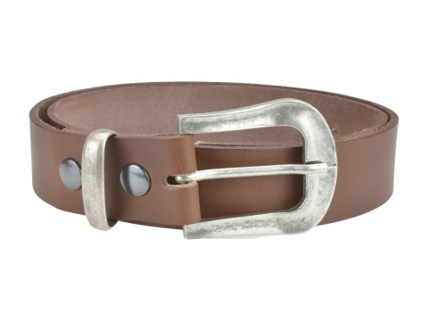 BULLJEANS N°05 | Ceinturon Western en cuir couleur chataigne boucle finition argent 2