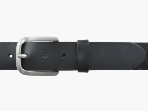 BULLJEANS N°06 | Ceinturon en cuir de couleur noir pour Homme avec une boucle arrondi finition argent 2