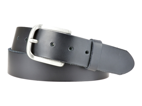 BULLJEANS N°06 | Ceinturon en cuir de couleur noir pour Homme avec une boucle arrondi finition argent 4