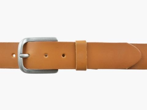 BULLJEANS N°06 | Ceinturon en cuir de couleur camel pour Homme avec une boucle arrondi finition argent