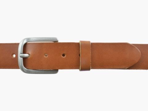 BULLJEANS N°06 | Ceinturon en cuir de couleur cognac pour Homme avec une boucle arrondi finition argent