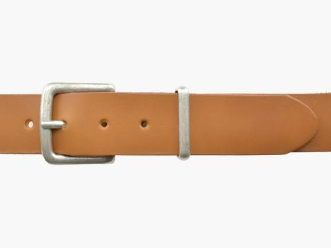BULLJEANS N°07 | Ceinturon cuir Homme de couleur camel boucle carrée finition argent