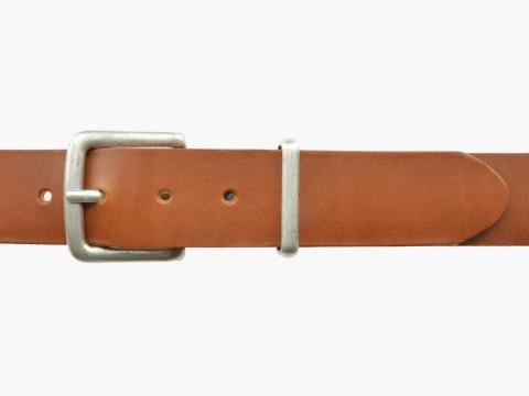 BULLJEANS N°07 | Ceinturon cuir Homme de couleur cognac boucle carrée finition argent 2