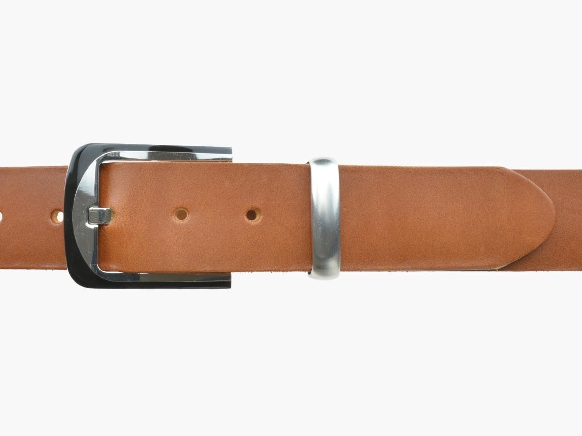 BULLJEANS N°08 | Ceinturon cuir couleur cognac homme boucle habillée bi-ton